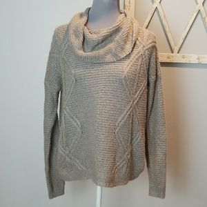 Sonoma cowl neck sweater taupe & gold